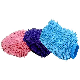 Microfiber Chenille Mitt Cleaning GlovesHand Gloves for Bathroom Cleaning for Kitchen,Computers,Car etc.(Pack of 3)