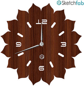 Sketchfab Throat Chakra Shape D104 Without Glass Decorative Wooden Wall Clock Non Ticking Silent - BROWN