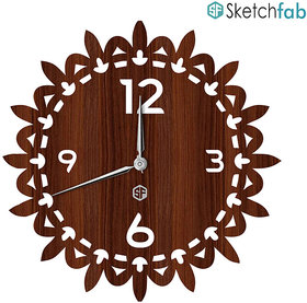 Sketchfab Flower Shape D111 Without Glass Decorative Wooden Wall Clock Non Ticking Silent - BROWN
