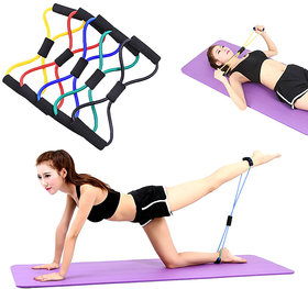 8-Shaped Elastic Pull Rope Yoga Resistance Band for Yoga Pilates PACK of 5