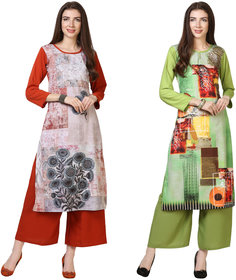 Today deal Red and Green Crepe Floral Print Pack of 2 Kurtas