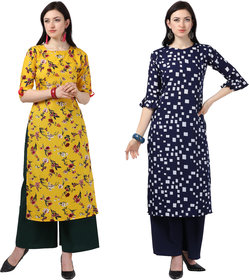 Today deal Yellow and Blue Crepe Floral Print Pack of 2 Kurtas