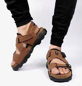 Way Beach Brown Velcro Sandals For Men