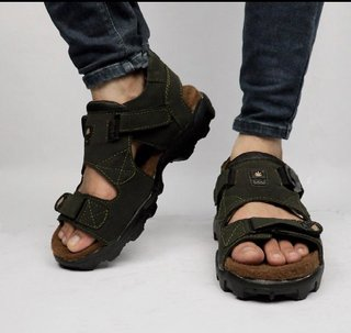 Way Beach Men Olive Velcro Sports Sandals