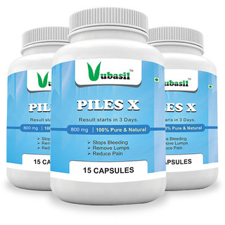 Vubasil Herbal Piles X (45 Capsules) Stops Blood Reduces Pain Swelling Boosts Immunity