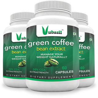 Vubasil 100 Pure Herbal Green Coffee Beans Extract (180 Capsules) Weight Loss Fat Burner Immunity Booster