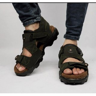 Way Beach Olive Velcro Sports Sandals For Men