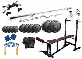 Protoner 22 Kgs PVC Weight With 6 In 1 Bench Rubberised Home Gym Package