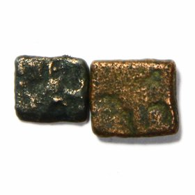 500 - 340BC PUNCH MARK 2 COPPER COINS - MAURYA EMPIRE 1 KARSHAPANA - EXTREMELY RARE - BUYERS WILL GET SAME COINS