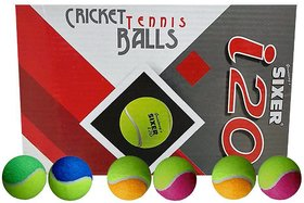 Greatway's Sixer Cricket Tennis Ball Pack of 6 Pcs