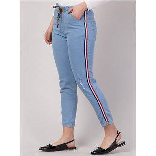BuyNewTrend Roll Up Light Blue Drawstring Jeans For Women