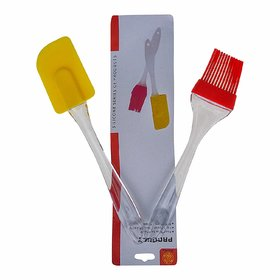 AVMART Silicone Spatula and Pastry Brush Set Yellow  Red - for Cake Mixer, Decorating, Cooking, Baking, Glazing