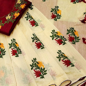 Indian Style Multicolor Embroidered Cotton Chanderi Party Saree With Blouse