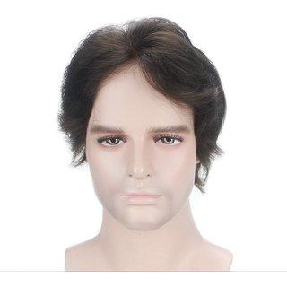 Elegant Hairs Human hair Straight wig for Men(Black,Size 96)
