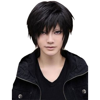 Elegant Hairs  Wigs for Men's Cool Male Black Short Straight Hair Wig/Wigs Cosplay Party Cheaper from SuperWigy(Black,78)