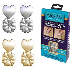 NEYSSA MAGIC BAX EARRING LIFTERS - 2 PAIRS OF ADJUSTABLE HYPOALLERGENIC EARRING LIFTS (1-GOLD-1SILVER)
