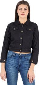 Z.A ENTERPRISES Denim Comfort Fit Regular Collar White Jacket for Women-Black