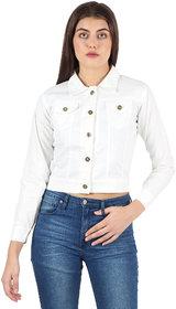 Z.A ENTERPRISES Denim Comfort Fit Regular Collar White Jacket for Women-White