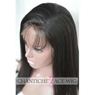 Elegant Hairs Straight synthetic Front Wigs with Baby Hair Indian Remy Human Hair Wig for Women (Brown, Medium, Lace 12-inch)