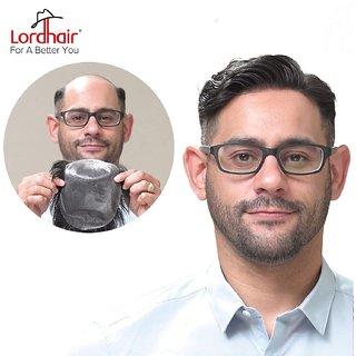 Elegant Hairs 100 Human Hair Super Thin Skin Men's Toupee Off Black Color Size-85