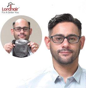 Shaear Hairs 100 Human Hair Super Thin Skin Men's Toupee Off Black Color Size-85