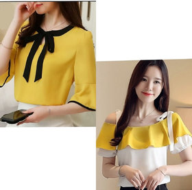 Raabta Fashion Mustard Tie Top And White Off Shoulder Top With Yellow Frill