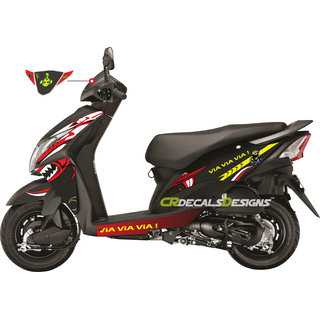 Honda DIO Custom Bike Decals/ Wrap/ Stickers VR46 SHARK EDITION Kit- RED