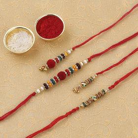Silver Shine Rakhi Combo For Bhaiya And Bhabhi (SET 2) Rakhi With Kumkum,chawal