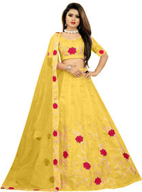 Florence Yellow Dupion Silk Embroidered Lehenga Choli