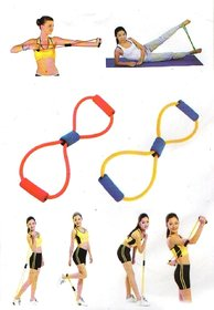 8-Shaped Elastic Pull Rope Yoga Resistance Band for Yoga Pilates PACK of 10