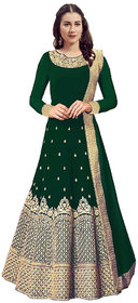 TODAYDEAL Green Taffeta Silk Embroidered Semi Stitched Flared Gown