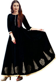 Today Deal Black Taffeta Silk Embroidered Stitched Gown