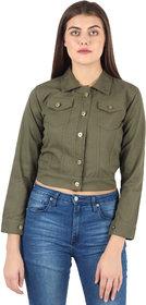 Z.A ENTERPRISES Denim Comfort Fit Regular Collar White Jacket for Women