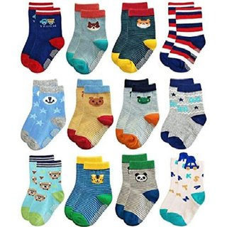 12 pair Super soft Cotton Baby Boy Girls socks 2 to 8 years kids (Colors  Design May Vary)
