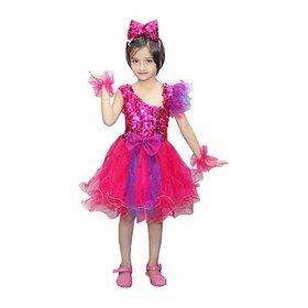 Kaku Fancy Dresses Multicolor Frock for Girls Western Dance Costume