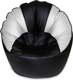 Madaar Homez Artificial Leather Sofa Mudda Black White Bean Bag Cover Jumbo