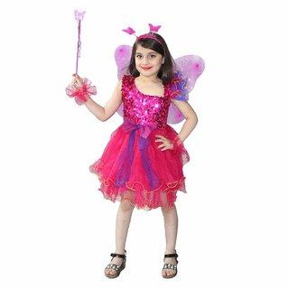 Kaku Fancy Dresses Magenta Butterfly Insect Costume Set -Magenta, for Girls