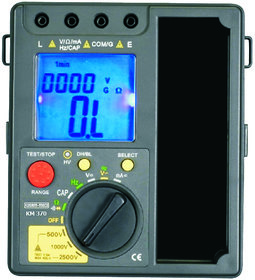 KUSAM-MECO 3 3/4 DIGIT DIGITAL INSULATION RESISTANCE TESTER WITH MULTIMETER FUNCTIONS. (12 FUNCTIONS 35 RANGES)