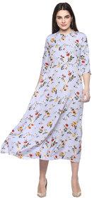 9ZEUS women's floral printed anarkali ethnic Light-Blue plus size dress
