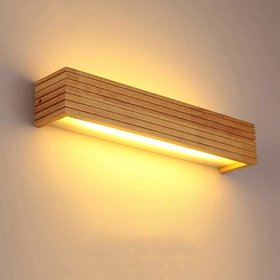 D4P Wooden LED Wall Lamp, Warm White Wall Hanging Lamp for Living Room, Bedroom  Home Decoration