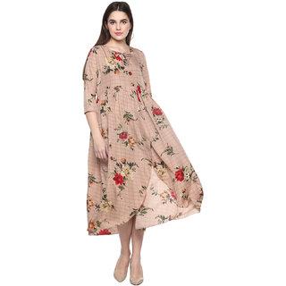 9ZEUS Women's Tie up neck Hgh-low plus size Shallow Coffee Long Maxi dress