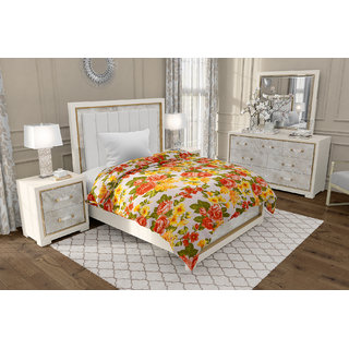 Be You Soft Micro Cotton Big Roses Floral Print Single Bed Dohar Blanket
