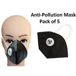 Antipollution Washable Mask Antidust Pollution Mask Pack Of 5
