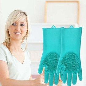 Scrub Gloves, Non-Slip Heat-Resistant Silicone Rubber Gloves, Kitchen Dish Washing Cleaning