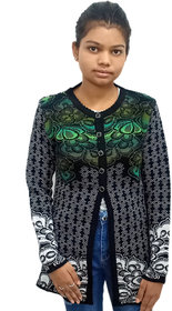 Green Black Women Cardigal