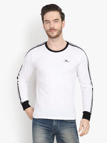 Men White Solid Round Neck Full Sleeve T-Shirt