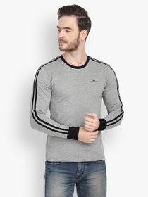 Men Grey Solid Round Neck Full Sleeve T-Shirt