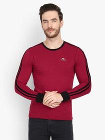 Men Maroon Solid Round Neck Full Sleeve T-Shirt
