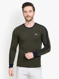 Men Olive Solid Round Neck Full Sleeve T-Shirt