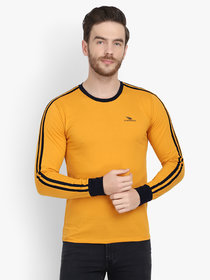 Men Yellow Solid Round Neck Full Sleeve T-Shirt